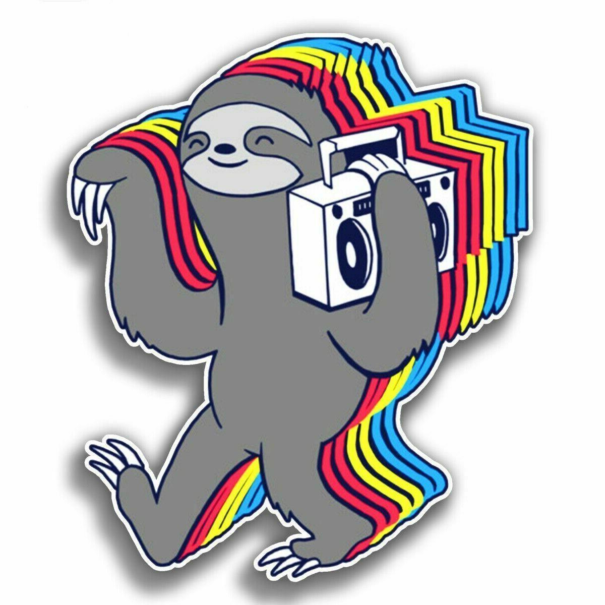sloth vinyl sticker laptop luggage tumbler