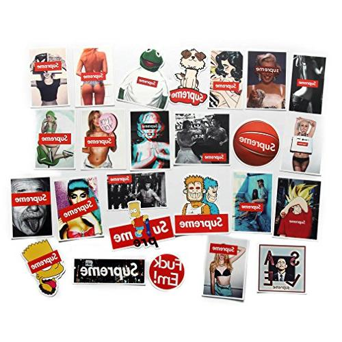 Supreme Stickers Pack Laptop Bicycle Decal Patches Laptop Travel Case Guitar Decals