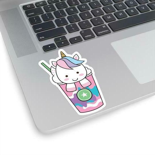 Unicorn stickers ice cream standing with