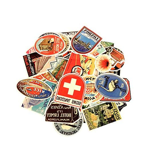 50 Pcs Stickers, Merssyria Sticker Bicycle Luggage Decal