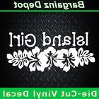 vinyl decal island girl tropical beach hibiscus