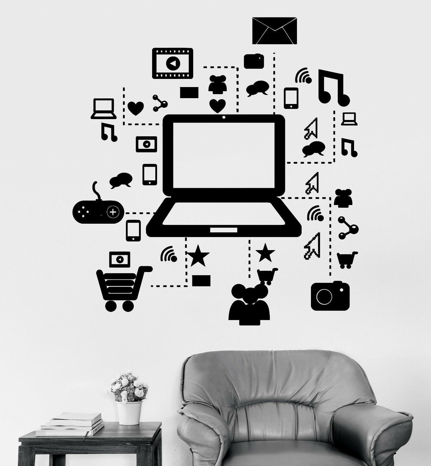 vinyl wall decal laptop computer online social