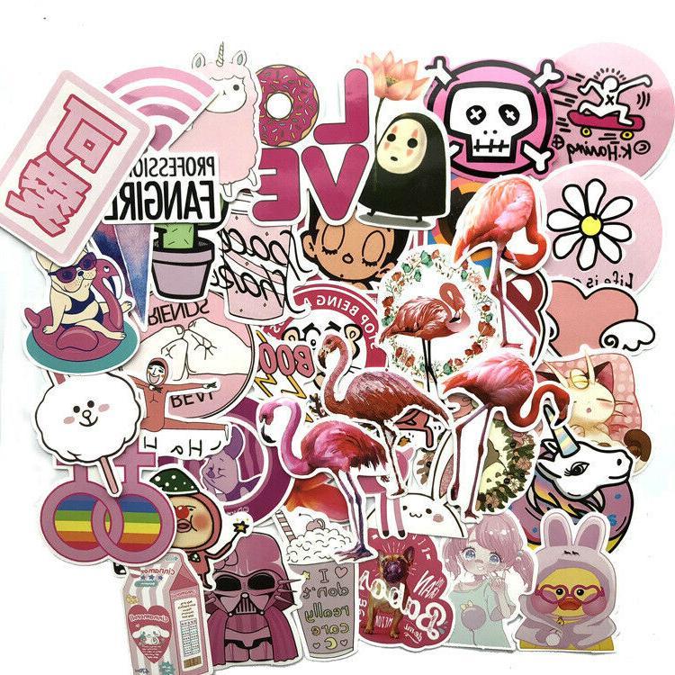 Warm Pink Sticker Laptop Luggage Decals