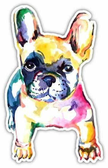 watercolor art french bulldog vinyl sticker decal