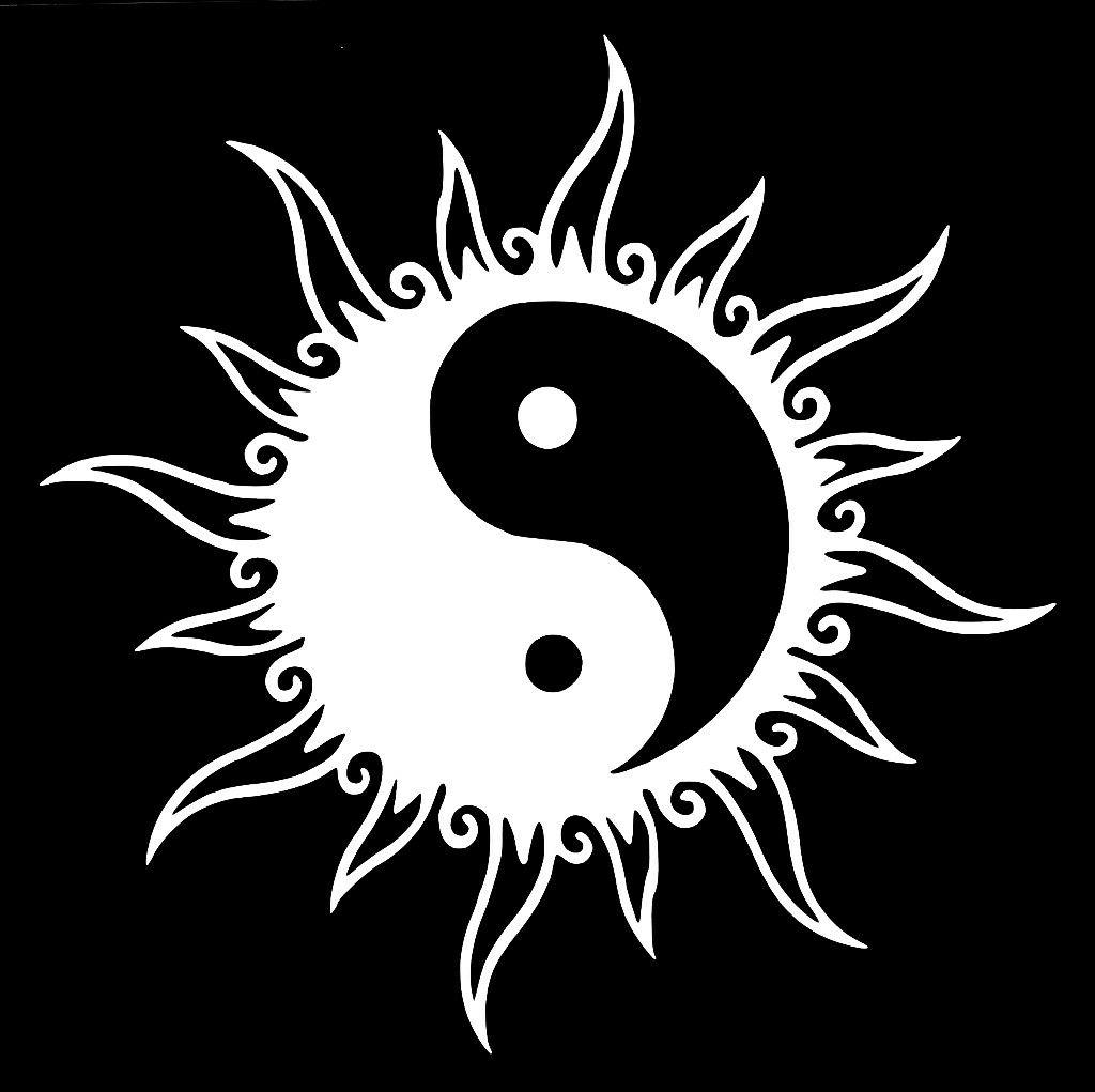 yin yang sun decal sticker window laptop