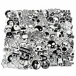 100Pcs Black and White Stickers for Laptop Car Motorcycle Bi