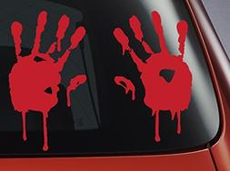 LEVEL 33 Blood Hand Prints - Red Vinyl Decal - Car, Window,