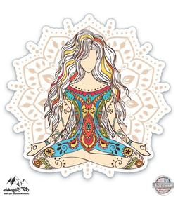 "Mandala Yoga Girl - 3"" Vinyl Sticker - For Car Laptop I-Pad"