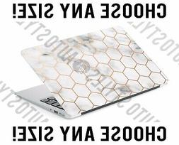 marble rose gold honeycomb laptop skin decal