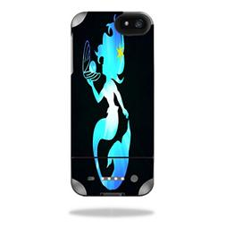 mermaid holding pearl silhouette blue