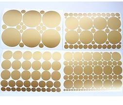 Set of 251 Metallic Gold Circles Polka Dots Vinyl Wall Decal