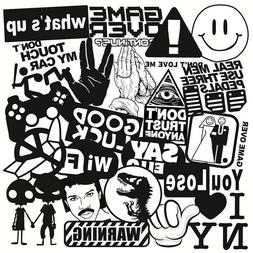 Mix Lot 100 pc Black White Stickers Skateboard Graffiti Lapt