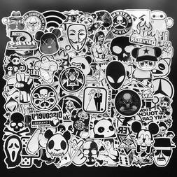 100Pcs Black White Stickers Skateboard Graffiti Laptop Lugga