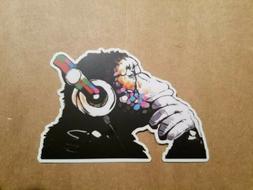Monkey Decal Sticker Vinyl Thinking Ape Gorilla DJ Mural Ban