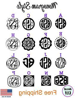 monogram decal vine monogram sticker custom car