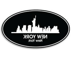 New York Oval Car Laptop Phone Vinyl Sticker  - SELECT SIZE
