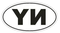 NY New York EURO OVAL Bumper Sticker or Helmet Sticker D478