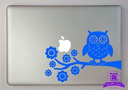 "Owl on Tree Branch Vinyl Decal Sized To Fit A 13"" Laptop - S"