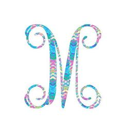 Pattern Letter M Vinyl Pattern Monogram Decal for Cup, Tumbl