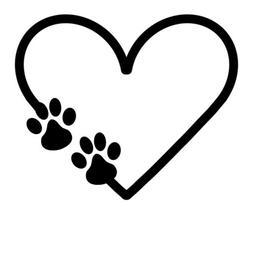 Paw Print Heart Vinyl Decal Bumper Sticker Car Window Dogs P