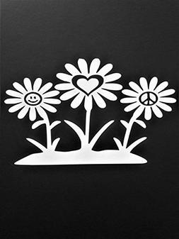 Peace Sign Daisy Flowers Hippie Vinyl Decal Sticker|WHITE|Ca