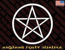 Pentagram pagan religious vinyl decal sticker for wall, car,