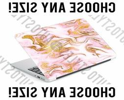 Pink Gold Marble Glitter Swirl Laptop Skin Decal Sticker Tab