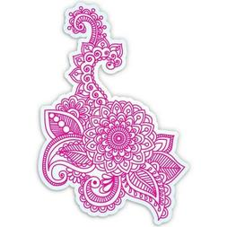 Pink Henna Flowers Car Laptop Phone Vinyl Sticker  - SELECT