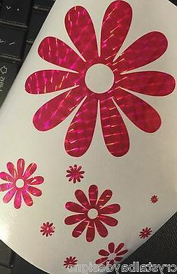 PINK Holographic Flowers Flower Power Daisy Car Sticker Deca
