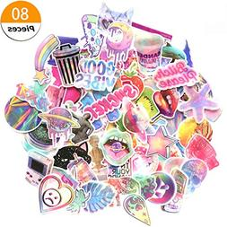 Godecal 80 Pack Pink Laptop Stickers for Girls Cute Stickers