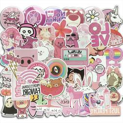 Pink Stickers for Water Bottles 50 PCS for Teens Girls Phone