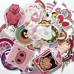 Pink Theme Sticker Pack, PVC Vinyl, Girl Skateboard Laptop D