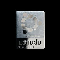 powered by ubuntu linux metal decal sticker