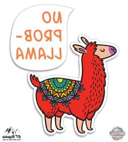 "No Probllama Graphic Cute Llama - 3"" Vinyl Sticker - For Car"