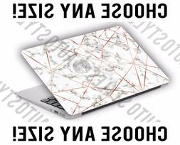 Rose Gold Geometric White Marble Laptop Skin Decal Sticker T
