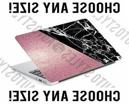 Rose Gold Glitter Black Marble Laptop Skin Decal Sticker Tab