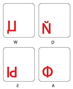 RUSSIAN WITH RED LETTERING KEYBOARD STICKERS TRANSPARENT FOR