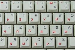 RUSSIAN CYRILLIC KEYBOARD STICKERS WITH RED LETTERING ON TRA