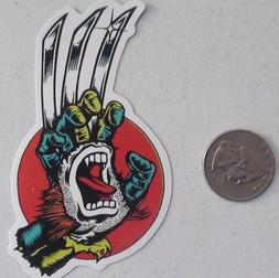 santa cruz sticker wolverine hand x-men skate skateboard cel