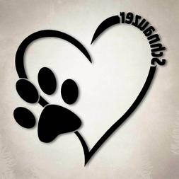 Schnauzer Dog Love Decal Paw Heart Sticker Car Laptop Puppy