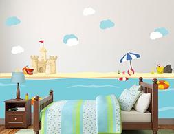 New Sea World Beach with Sand Castle Kids Room Decor Vinyl T