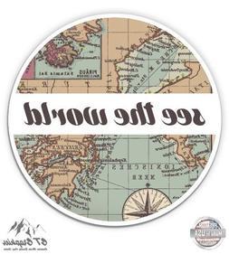 "See the World Travel Retro Globe Map - 3"" Vinyl Sticker - Fo"