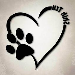 Shih Tzu Dog Love Decal Paw Heart Sticker Car Laptop Puppy A