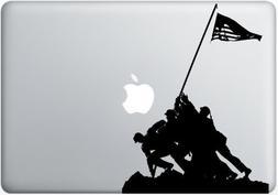 Silhouette cutout of American Marines raising the American F