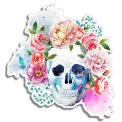 Skull Flowers Watercolor Car Laptop Phone Vinyl Sticker  - S