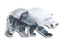 Snowy Half Dome Yosemite Valley Cali Bear Vinyl STICKER for