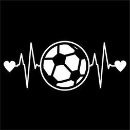 Soccer Ball Heartbeat Vinyl Decal Sticker | Cars Trucks Vans