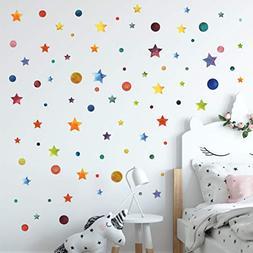 Stars and Circles Wall Decals Wall Decor 147 Watercolor Piec
