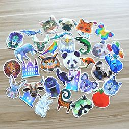 35Pcs Sticker of Different Animals PVC Decals Waterproof Sun