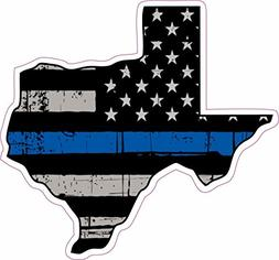 STICKER KING -Thin Blue Line Police Texas US Flag Distressed